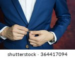 man in blue suit two buttons ... | Shutterstock . vector #364417094