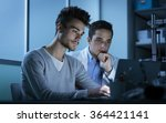 students working at night in... | Shutterstock . vector #364421141