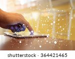 hand of man connect and working ... | Shutterstock . vector #364421465
