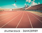 Red Running Track In Stadium....