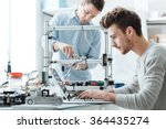 engineering students working in ... | Shutterstock . vector #364435274