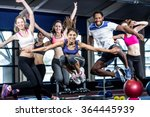 fit group smiling and jumping... | Shutterstock . vector #364445939