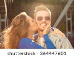 romantic couple in love on the... | Shutterstock . vector #364447601