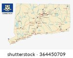 connecticut road map with flag | Shutterstock .eps vector #364450709