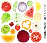 slices of fruit and vegetable...   Shutterstock . vector #364470719