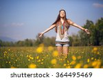 free and smiling hippie in... | Shutterstock . vector #364495469