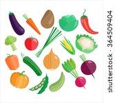 vegetables vector icon set... | Shutterstock .eps vector #364509404