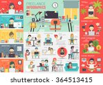 freelance infographic set with...