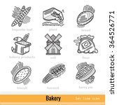 set of bakery outline web icons