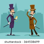 victorian gentleman meeting... | Shutterstock .eps vector #364538699
