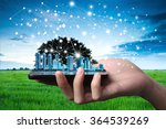 hand and smartphone with single ... | Shutterstock . vector #364539269