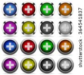 set of plus glossy web buttons. ...