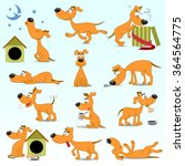 vector set of  funny cartoon... | Shutterstock .eps vector #364564775