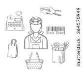 seller profession with shopping ... | Shutterstock .eps vector #364570949
