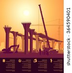 high bridge under construction | Shutterstock .eps vector #364590401