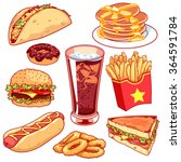 set of cartoon fast food icons. ... | Shutterstock .eps vector #364591784