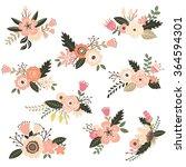vintage floral bouquet set   Shutterstock .eps vector #364594301