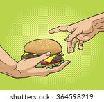 hand gives a burger to other... | Shutterstock .eps vector #364598219