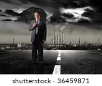 senior businessman holding... | Shutterstock . vector #36459871
