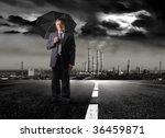 senior businessman holding... | Shutterstock . vector #36459871