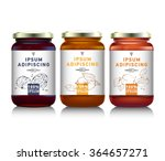 glass jar with with jam ... | Shutterstock .eps vector #364657271