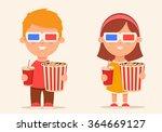 cute cartoon kids with popcorn... | Shutterstock .eps vector #364669127