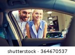 happy couple buying car in auto ... | Shutterstock . vector #364670537