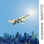vector dollar paper plane... | Shutterstock .eps vector #364671725