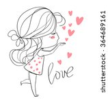 beautiful girl with a heart. | Shutterstock .eps vector #364689161
