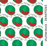 watermelon and slice pattern | Shutterstock .eps vector #364695065