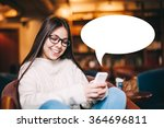 Small photo of Cute and smiling teenager girl texting on her cell phone with white blank text bubble