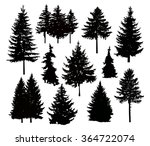 silhouette of different pine... | Shutterstock . vector #364722074