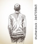 sketch of man from back with... | Shutterstock .eps vector #364735865