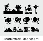 concrete work vector icons  | Shutterstock .eps vector #364736474