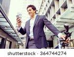 successful businessman riding... | Shutterstock . vector #364744274