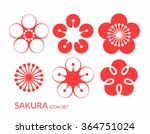 cherry blossom. sakura. icon set | Shutterstock .eps vector #364751024