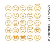 set of hand drawn faces for... | Shutterstock .eps vector #364764209