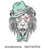 ethnic lion wearing a hat and... | Shutterstock .eps vector #364765931