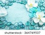 macro view of blue glass drops... | Shutterstock . vector #364769537