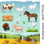 Farm  Animals And Birds Set Of...