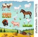 farm  animals and birds set of... | Shutterstock .eps vector #364779131