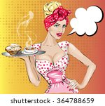 pop art woman with breakfast.... | Shutterstock .eps vector #364788659