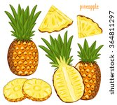 composition of pineapple on... | Shutterstock .eps vector #364811297