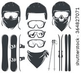 set of helmet with goggles and... | Shutterstock .eps vector #364827071