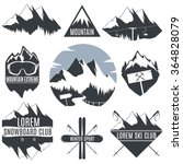 Set Of Vintage Logos Mountains...