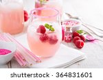 raspberry lemonade with ice in... | Shutterstock . vector #364831601