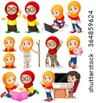 muslim girl in different... | Shutterstock .eps vector #364859624