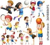 children doing different kind... | Shutterstock .eps vector #364888691