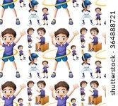 seamless boy doing different... | Shutterstock .eps vector #364888721