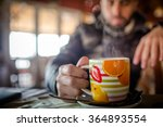 man with hot drink relaxing | Shutterstock . vector #364893554